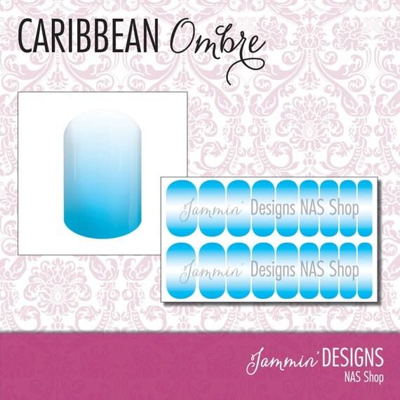 Caribbean Ombre NAS (Nail Art Studio) Design