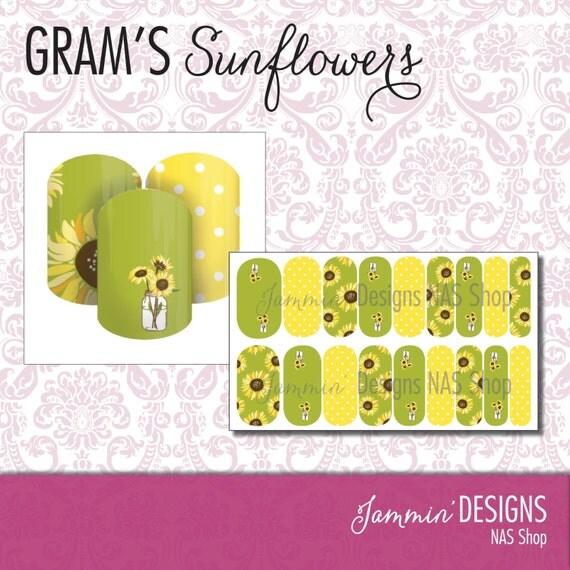 Gram's Sunflowers NAS (Nail Art Studio) Design