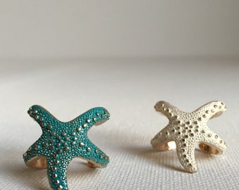 Gorgeous color metal starfish ring