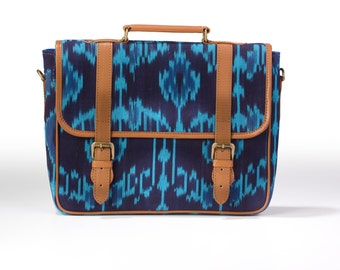 "13"" laptop bag, laptop briefcase, laptop case, leather laptop bag , ikat laptop bag"