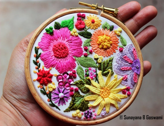 Embroidery Hoop Art, Wall Hanging, Decorative Wall Art, Handmade, Embroidered Wall Decor, White Silk, Multicoloured Hand embroidered Flowers