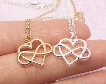Dainty Heart Love Infinity Necklace in Gold/Silver, Everyday Necklace, Graduation Necklace, Anniversary Necklace, Bridesmaid Necklace NB706