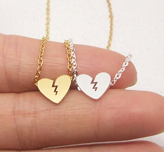 Broken heart necklace heart broken necklace split heart te gusta este artculo aloadofball Gallery