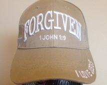 Christian Unisex Adult Embroidered Adjustable Beige Baseball Cap (Forgiven 1 John 1:9)