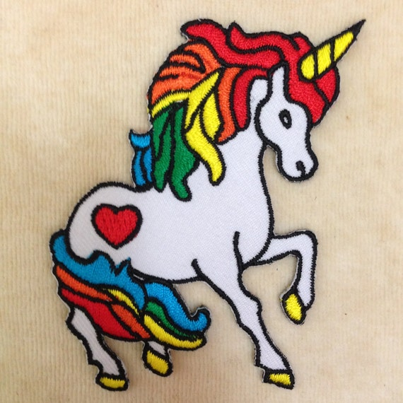 Unicorn iron on embroidery patch by pandasevenshop etsy