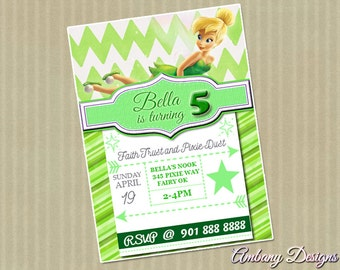 Tinkerbell Invitations/Tinkerbell Party/Tinkerbell Birthday/Birthday Party Invitations/Disney Invitations