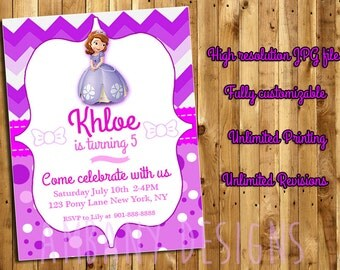 SOFIA THE FIRST Birthday Party Invitations, Sofia the First Printable Birthday Party Invitations, Sofia the First Birthday Invites