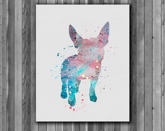 Dog watercolor, boston Terrier - Art Print, instant download, Watercolor Print, Printable poster