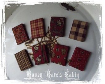 Set of Eight Early Primitive Antique Style Miniature Cloth Covered Book Ornaments