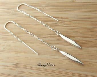 Silver Threader Earrings Silver Ear Threads Silver Spike Earrings Minimalist Chain Earrings Ear Thread Earrings Long Silver Earrings