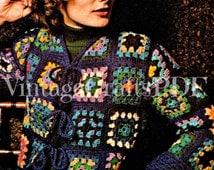 Jacket Crochet Pattern Vintage 1970s Ladies Granny Square Coat Crochet Pattern Sweater Cardigan Boho Retro Instant Download PDF Pattern