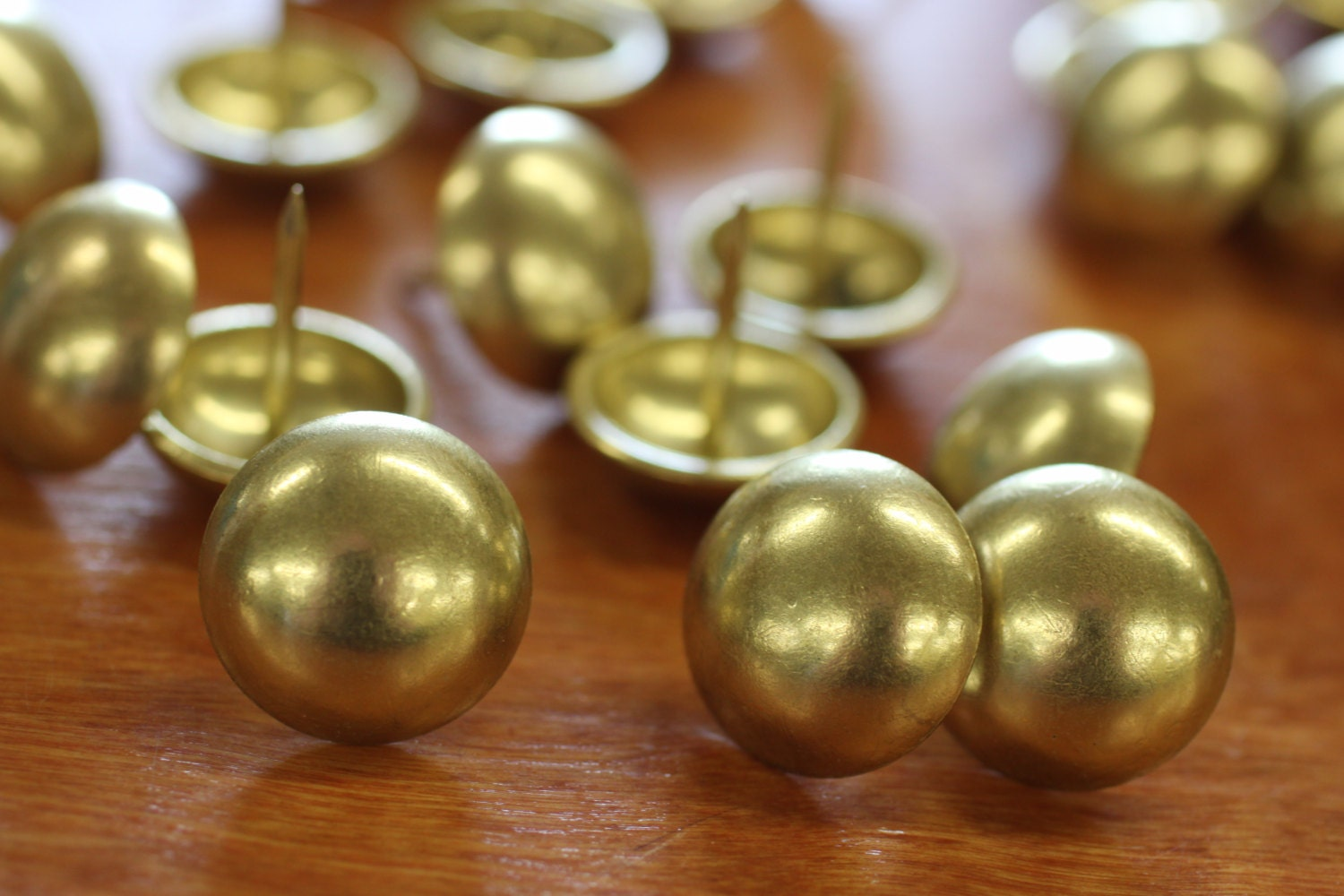 Upholstery decorative nail heads brass plated finish big for Decorative nails