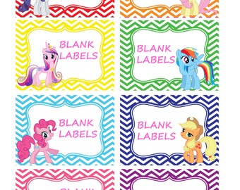 my little pony labels 8 pack blank buffet labels instant download ...
