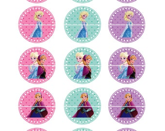 FROZEN Cupcake Toppers- Stickers- Labels- 2 Inch- Digital Image-8.5 x 11 Instant Download
