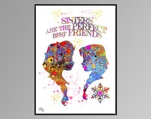 Elisa and Anna Sisters are the perfect best friends  Movie Poster, Watercolor art. Watercolor print, Disney Frozen art, Movie Souvenir A658