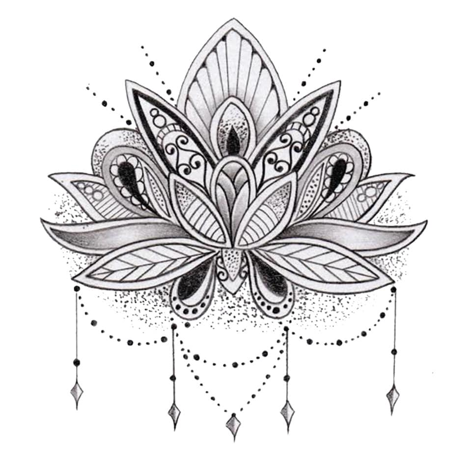 Lotus flower tattoo - Details 2 Boards Of Temporary Tattoos In The Lotus Flower