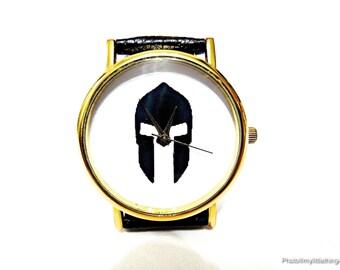 Spartan Helmet, Helmet Watch, Unisex Watch, Mens Watch, Spartan Helmet Jewelry, Spartan Helmet Accessory, Personalized Watch, Pattern 3