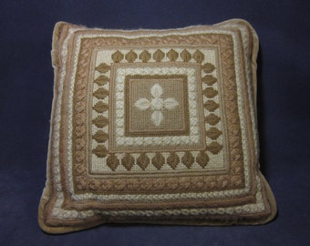 Small Vintage Handmade Embroidered Pillow
