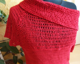 Red sweater - knitted, crocheted VINTAGE