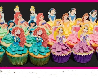 24 princess cupcake toppers
