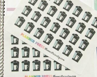 Coffee Maker Planner Sticker fits Erin Condren Life Planner (ECLP) Reminder Sticker 1397