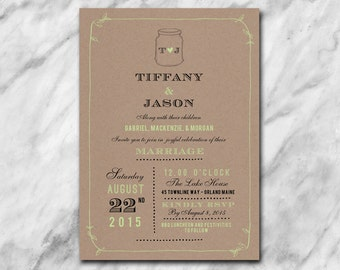 Fresh wedding invitation with hand drawn leaves, mason jar and classic elegant fonts on a kraft background.