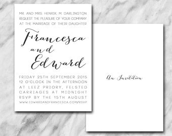 Modern wedding invitation with a mixture of clean & cursive fonts.