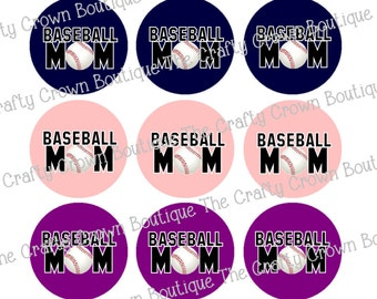 "Baseball Mom ~ INSTANT DOWNLOAD 4x6 Digital 1"" Inch Bottle Cap Image Digital Collage Sheet ~ CCB"