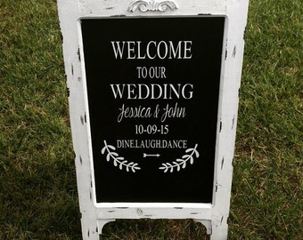Chalkboard Easel - Welcome Wedding Chalk Board Sign // Wedding Chalk Board Easel