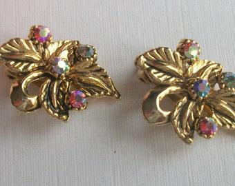 Vintage Rhinestone Earrings, Goldtone Earrings, Clip On Earrings, Leaf Earrings, Antiqued Earrings, Multi Coloured Crystal Earrings