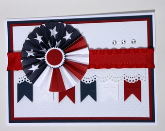 Fourth of july, red, white, and blue handcrafted greeting card
