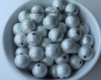 16mm Silver Stardust Chunky Beads Set of 10,  Bubble Gum Beads, Gumball Beads, Acrylic Beads