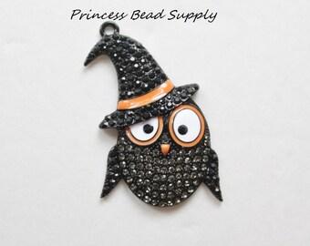 Halloween Owl Rhinestone pendant for Chunky Necklaces, Halloween Owl with Witch Hat Pendant, 50mm Halloween Pendant, Chunky Necklace Pendant