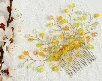 Yellow wedding comb Yellow wedding accessory Yellow wedding comb Bridesmaid hair comb Wedding bridal hair comb Yellow bridal comb