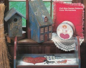 Decorative Tole Painting Patterns - Folk Art Painting Patterns - Where Love Abides - Decorative Acrylic Painting on Wood