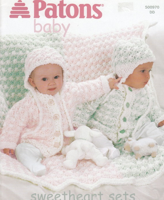 Baby Sweater Blanket & Hat Knitting Pattern Patons Baby