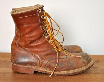 Vintage 1950's HyTest Steel Toe Work Boots, 7.5