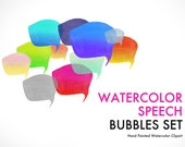 Colorful Speech bubble Handmade watercolor bubble banner color Gradient PNG no background with also second version with 70% transparency
