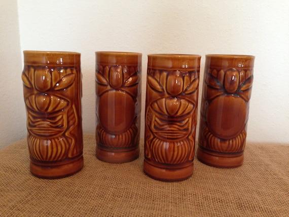 tiki drinking glasses by libbey vintage ceramic barware set of