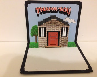 Thank You Pop Up Card with house