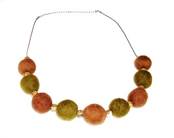 Handmade necklace with brown and green woolen balls