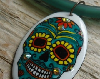 Mexican sugar skull pendant green painted ceramic