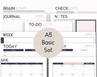 A5 Basic Set Printable Inserts Refills (also fits kikki.k PERSONAL Planner and Time Planner LARGE) - Audrey Collection
