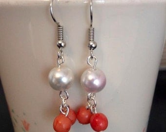 Earrings With Pearls Beads And Red Beads