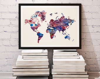 Watercolor Map - Digital Download Print - World Map Art Print - Map of the World Poster - Watercolor Map - World Map Illustration