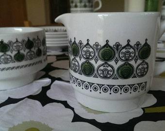 Retro Biltons Sugar Bowl and Milk Jug Hand Painted Olive Green 1960s