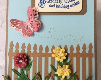 Birthday,  Handmade Greeting Card,  Elegant, Includes Envelope