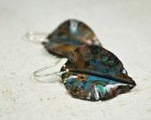 Earrings Copper leaf copper leaves foldforming copper jewelry copper oxydized blue copper earrings dangle orecchini in rame silver hook