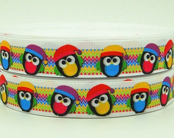 7/8 inch JOLLY OWLS On Skinny chevron - CHRISTMAS Printed Grosgrain Ribbon for Hair Bow