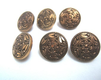Cod. 014 Set of 7 vintage buttons plastic bronze original 80s brown color made in Italy